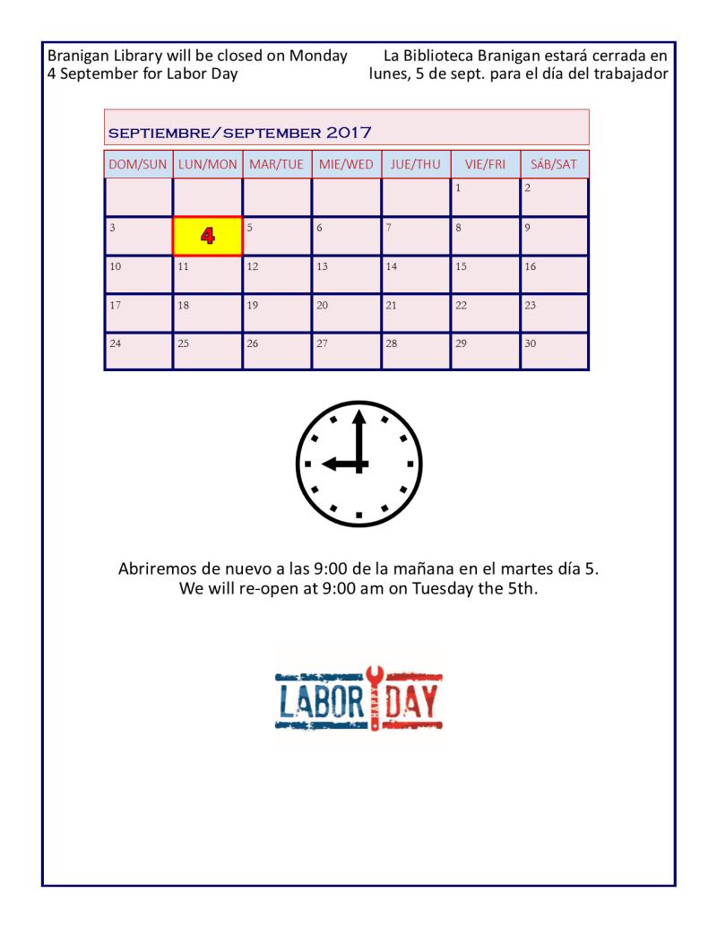 Closed labor day 2017