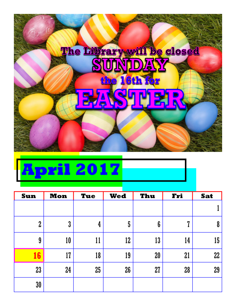 CLOSED EASTER 2017